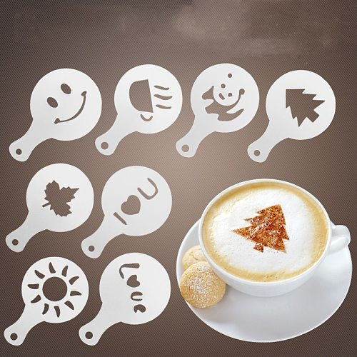 16Pcs/set Plastic Fancy Coffee Printing Model Cafe Foam Spray Template Barista Stencils Decoration Coffee Supplies Accessories