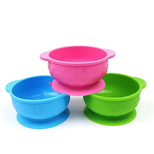 Kids Children Baby Plate Silicone Dishes Bowl With Suction Cup Spoon Silicone Feeding Food Plate Tray Dishes For Baby Toddler