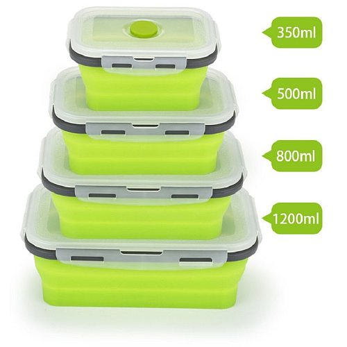 4 pcs/set Silicone Collapsible Lunch Box Food Storage Container Microwavable Portable Picnic Camping Rectangle Outdoor Box