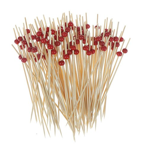 100pc Food Skewers Fruit Toothpick Dessert Cocktail Birthday Wedding Decorative Party Supplies 9/12cm Bamboo Heart Craft