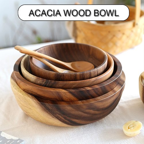 1pc Practical Wooden Cutlery Household Basin Fruit Bowl Salad Bowl Wooden Tableware Household And Basins Fruit Bowls^1