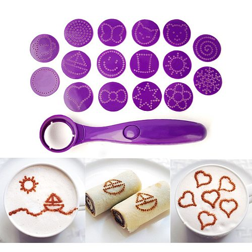 16 Different Images Electric Magic Spice Spoon Coffee Printing Flower Model Barista Stencils Decoration Tool Garland Mold Fancy