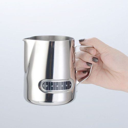 Milk Frothing Pitcher, Stainless Steel Creamer Frothing Jug 20oz With Thermometer Sticker, For Espresso Machines, Latte Art