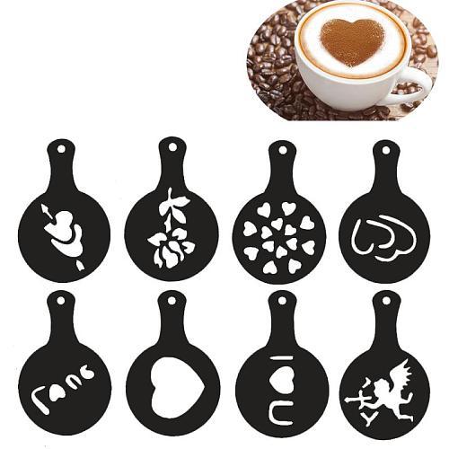 8PCS Eid Mubarak Ramadan Coffee Printing Template Spray Stencil Set DIY Fondant Cake Biscuits Decoration Tools Drink Decor