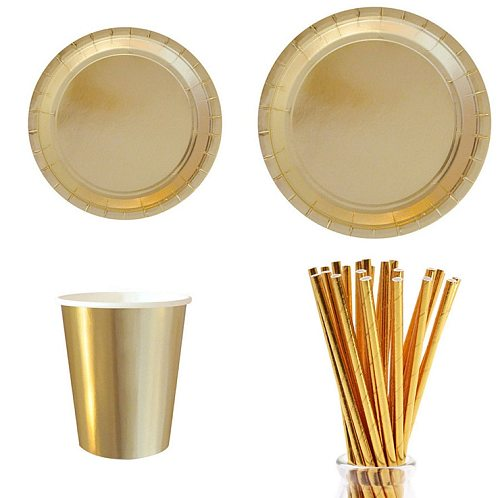 Party Gold Disposable Tableware Paper Tray Plates Cups Paper Straw Cake Wrapper Birthday decorate Baby Shower Wedding Party Set