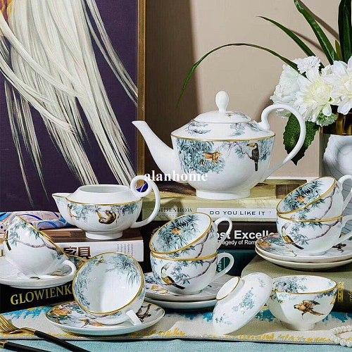 15 PCS Bone China European Coffee Cup Set Sugar Milk Pot Home Ceramic Afternoon Tea Set Porcelain Coffeeware