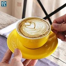 200ml European Coffee Cup Set Milk Jugs Wide Mouth Pull Flower Cups Cappuccino Home Coffeeshop Italian Moka Ceramic Coffeware