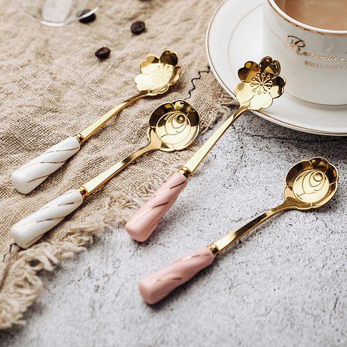 Ceramic Handle Tea Coffee Mixing Spoon Flowers Design Spoon Dessert Stainless Steel Teaspoons Drink Tableware