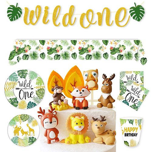 GLOD Wildone Wild Animal Forest Leaf Wild Tablecloth Birthday Party Supplies Cake decoration Party Decoration Baby Shower