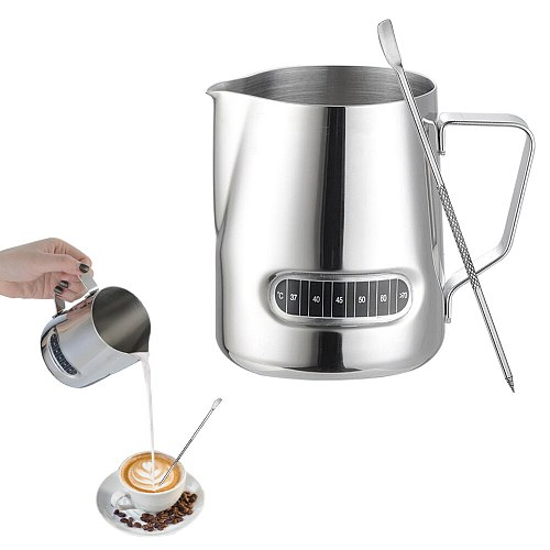 600ML Stainless Steel Milk Frothing Jug Pitcher Coffee Milk Mugs Pull Flower Cup Barista Latte Art Cappuccino Maker Temperature