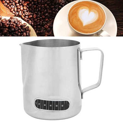 600ML Milk Pitcher Coffee Frothing Cup Milk Tea Latte Jug Coffee Mug with Temperature Display Sticker Coffee Latte Milk Frothing
