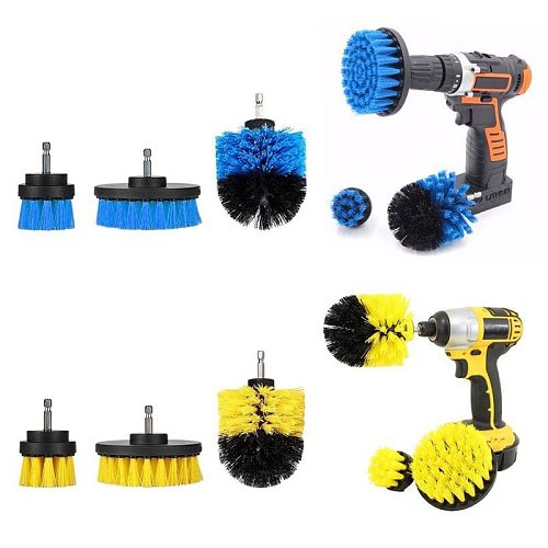 3pcs Electric Drill Brush Grout Power Scrubber Cleaning Brush Top Bathroom Surface Tub Cleaner Tool Washing Kit 3