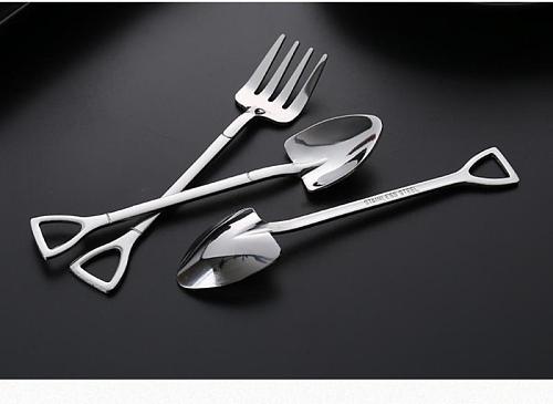 1PC Stainless Steel Spoon Fork Multi-color Shovel Cutlery Set Dinner Set Long Handle Dessert Utensils New Kitchen Accessories
