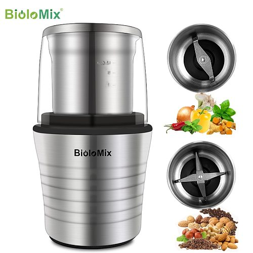 BioloMix 2-in-1 Wet and Dry Double Cups 300W Electric Spices and Coffee Bean Grinder Stainless Steel Body and Miller Blades