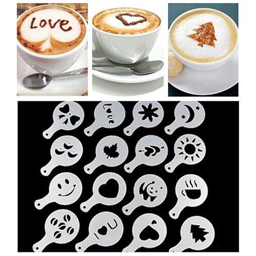 New 16 Pcs/set Fancy Coffee Printing Model Foam Spray Cake Stencils Coffee Drawing Cappuccino Mold Powdered Sugar Sieve Tools