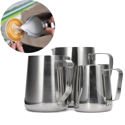 Coffee Frothing Pitcher Pull Flower Jug for Espresso Latte Cups Milk Pot Stainless Steel Milk Frother Coffee Barista Craft