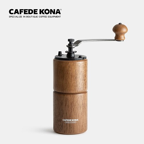 CAFEDE KONA Coffee Hand Grinder, Grinder Cleaning Brush, Coffee Powder And Coffee Beans Taking Measuring Spoon,Powder Receiver