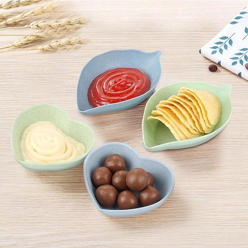 1PC Love Heart/Leave Shape Wheat Fiber Bowl Vinegar Seasoning Solid Soybean Dish Sauce Salt Snack Small Plate Kitchen Supplies