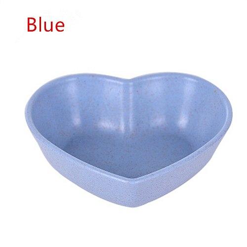 1pcs Cute Love Heart Shape Wheat Straw Bowl Vinegar Seasoning Solid Soybean Dish Sauce Salt Snack Small Plate Kitchen Supplies