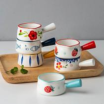 Ceramic Mini Milk Cup With Handle Japanese Milk frothing Jugs Coffee Sugar Milk Pot Strawberry Floral Pattern Kitchen Cookware
