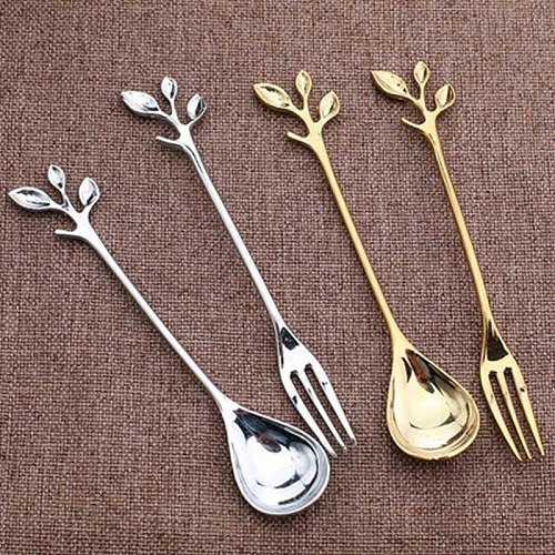 1PC Alloy Gold Shaped Leaves Silver Copper Coffee Forks Fork Kitchen Cutlery Dining Room Snack Bar Sweet Dinner Set 12cm