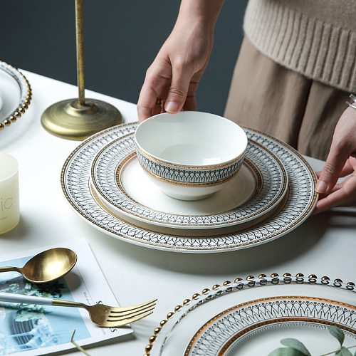Nordic Luxury Dinner Plates Rice Bowl Soup Plate Serving Cake Dessert Plate Rack Set Decorative Dinnerware for Wedding Party