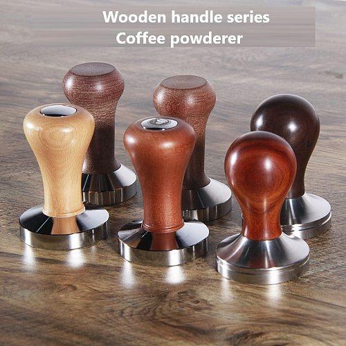 New Stainless Steel Coffee Powder Presser Wooden Handle Thread Flat Bottom Powder Press Coffee Machine Powder Press Hammer