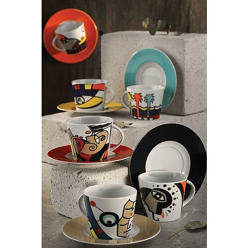 Free Time Coffee Cup Saucer Set Artwork Tea cup Coffeeware 12 Piece Porcelain Cup and Saucer for Coffee