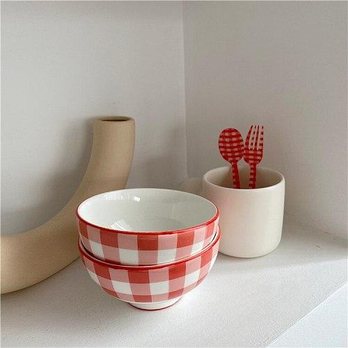 Korean Retro Red Plaid Bowl Ceramic Rice Bowl One Person Tableware Breakfast Bowl Salad Bowl