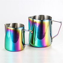 Colorful Stainless Steel Frothing Pitcher Pull Flower Cup Espresso Cappuccino Art Pitcher Jug Milk Frothers Mug Coffee Tool