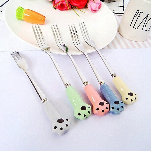 1PC Kitchen tool Stainless Steel Paw Spoons Various Cute Bone China Stirring Coffee/Tea Spoons / Icy Scoop Tableware Party Gift