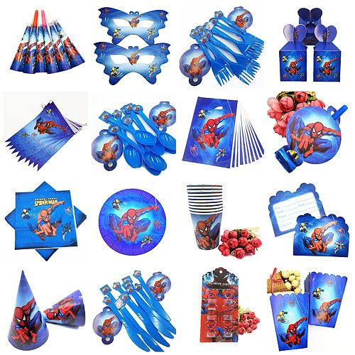 Spiderman Party supplies Tablecloth Napkins Plates Cups Knives Forks Spoons Spiderman Birthday Party Decoration