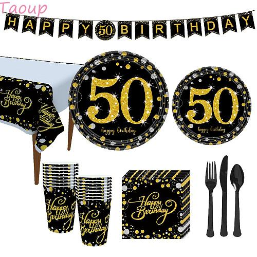 Taoup Gold 50 Disposable Tableware Towel Plate Tablecover Cups Disposable Party Tableware 50th Birthday Party Decors for Parents