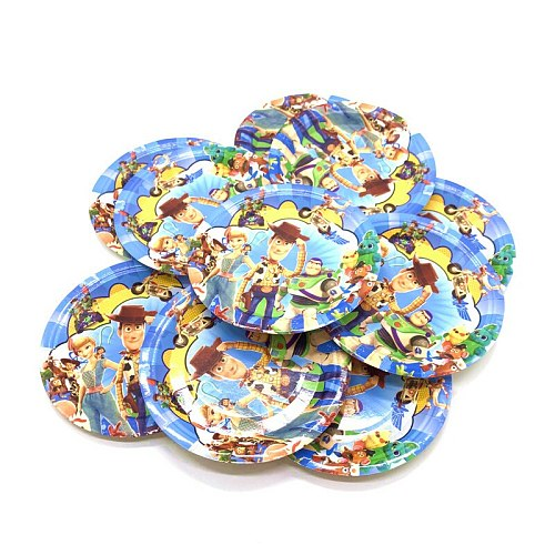 For 10 People Baby Kids Birthday Party Supplies Disney Toy Story 4 Woody Party Decoration Sets Paper Garland Cups baby Shower