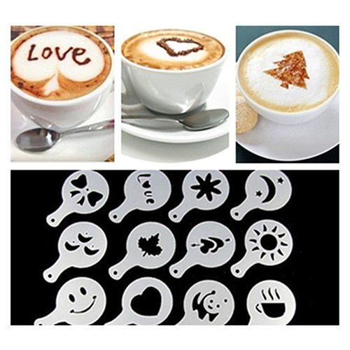 16Pcs Coffee Stencils Fancy Coffee Printing Model Foam Spray Cake Stencils Coffee Drawing Cappuccino Mold Powdered Sieve Tools
