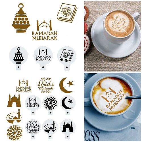 8pcs Ramadan Mubarak Cookies Stencil Coffee Cake Stencils Template Biscuits Fondant Mold Cake Decorating Tools Eid Mubarak Decor