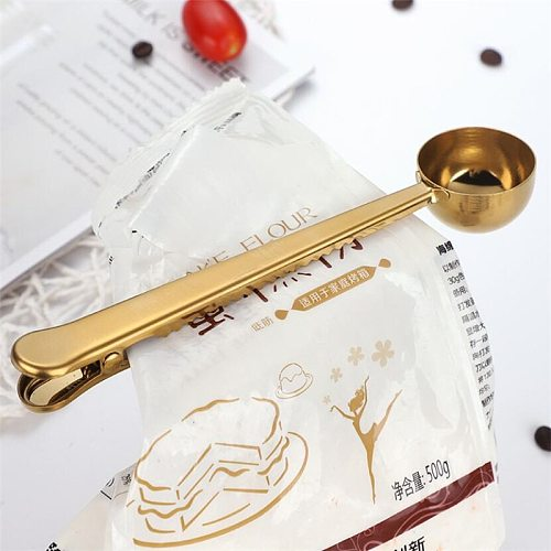 Gold Silver Multifunction Kitchen Supplies Coffee Scoop With Clip Stainless Steel Tea Measuring Cup Scoop Spoons