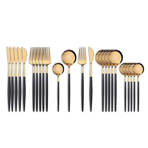 24Pcs 18/10 Stainless Steel Dinnerware Set Black Gold Cutlery Spoon Fork Knife Western Cutleri Silverware tableware Set Supplies