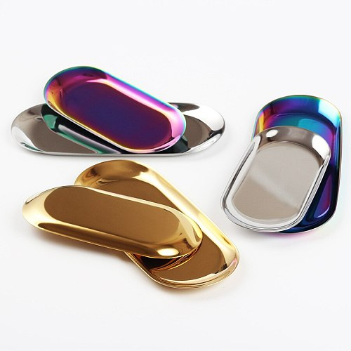 The Nordic ins gold oval plates European style jewelry tray Stainless steel plate metal desktop receive dish