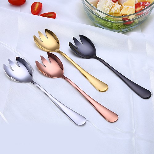 2 PCS Salad Set Stainless Steel Spoon With Fork Set For Fruit Noodles Vegetables Kitchen Accessories High Quality Salad Cutlery
