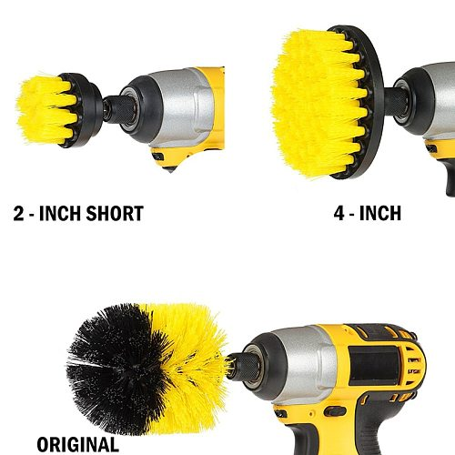3Pc Tile Power Scrubber Drill Brush Clean For Bathroom Surface Tub Brush Kit Ish Clean For Bathroom Kitchen Tub Tile Surfaces