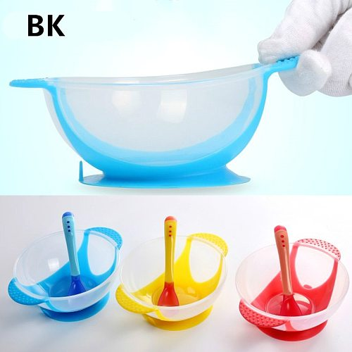 Baby Learning Dishes Service Plate/Tray Suction Cup  Dinnerware Set Temperature Sensing Feeding Spoon Child Tableware Food Bowl