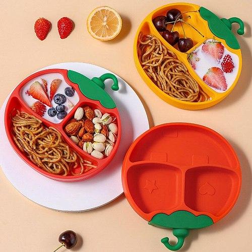 Baby Bowl Feeding Food Tableware PBA Free Cartoon Pumpkin Owl Kids Dishes Baby Eating Plate Non-slip Silica Gel Training Plate