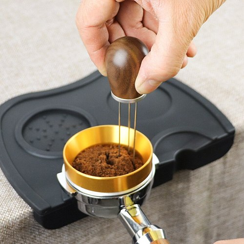 Solid Wood Handle Needle Coffee Tamper Coffee Tamper Distributor Leveler Tool Needle Type Coffee Powder Distributor