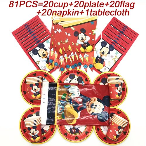 Disney Red Mickey Party Decorations Supplies Set Mickey Mouse Birthday Banner Flags Disposable Cup Plate Mickey Party Tablecloth