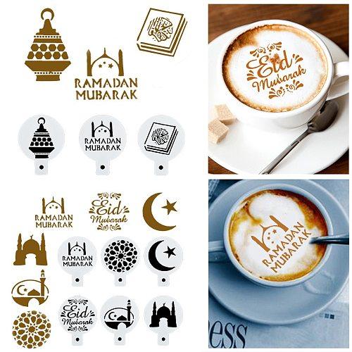 8Pcs Coffee Stencils for Drawing Eid Mubarak Cake Stencils Muslim Coffee Stencils Cake Decoration Tools Party Diy Decoration