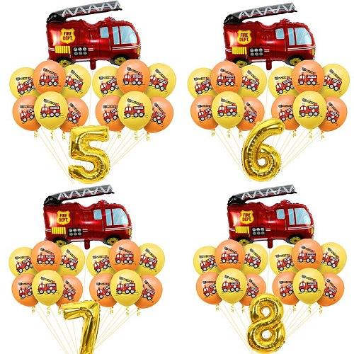 Cars Fire Truck Balloon Fireman Sam Latex Ballon Kids paper plates cups Baby Shower Boy Girl Children Birthday party Decoration