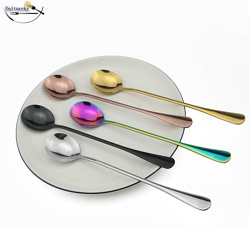 Cutlery Set Stainless Steel 1 Piece Rainbow|Gold|Black|Silver|Rose Ice Cream Coffee Scoop Long Handle Teaspoon Drink Juice Scoop