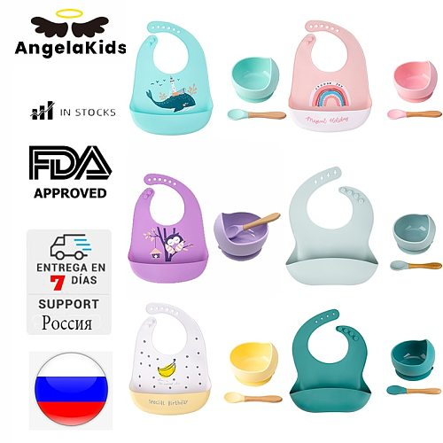 AngelaKids Silicone Baby Feeding Bowl Tableware Waterproof Spoon Non-Slip crockery BPA Free Silicone Dishes For Baby Bowl Plate