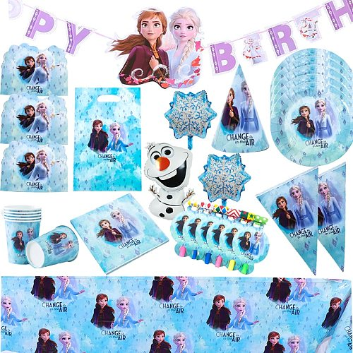 Disney Frozen Princess Birthday Event Party Decoration Kids Favor Cups Plates Baby Shower Disposable Tableware Party Supplies